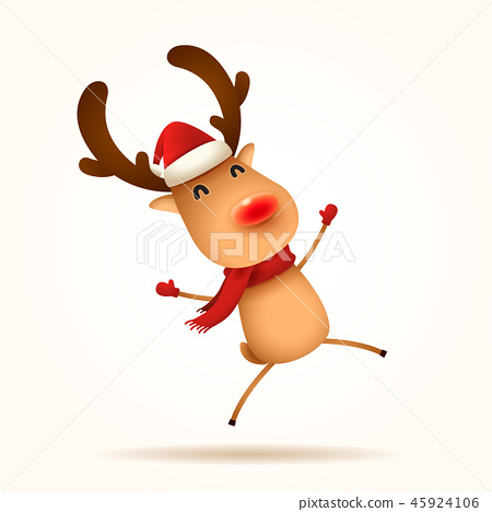 The red-nosed reindeer jumps. Isolated. 45924106