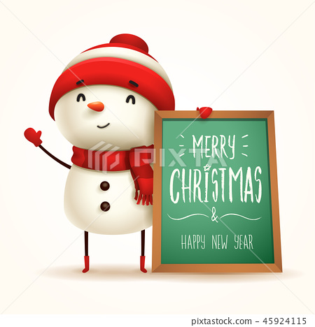 Cheerful snowman with message board. Isolated. 45924115