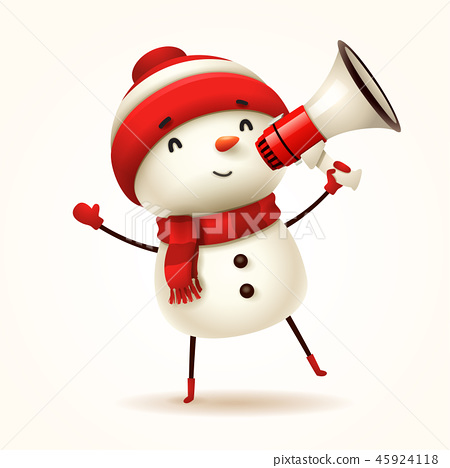 Cheerful snowman with megaphone. Isolated. 45924118
