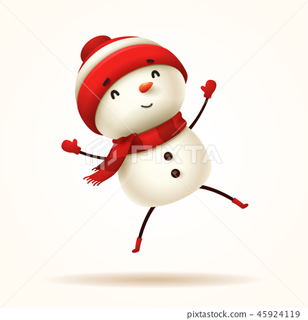 Cheerful snowman jumps. Isolated. 45924119
