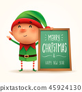 Little elf with message board. Isolated. 45924130