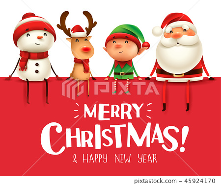 Happy Christmas companions sit on big signboard. 45924170