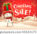 Christmas sale! Snowman in the snow scene. 45924175