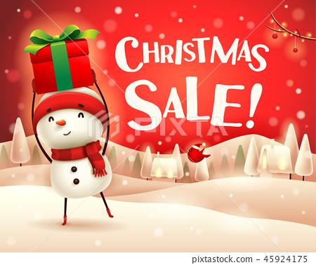 Christmas sale! Snowman in the snow scene. 45924175