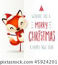 Cute little fox with big signboard. 45924201