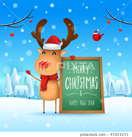 Merry Christmas! Reindeer in the snow scene. 45924231