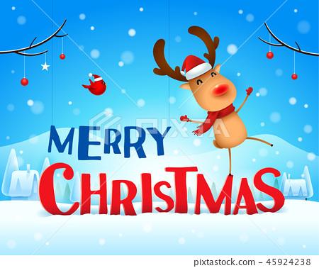 Merry Christmas! Reindeer in the snow scene. 45924238