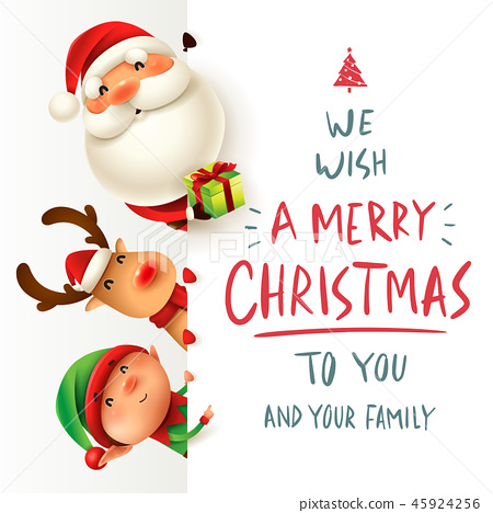 Happy Christmas companions with big signboard. 45924256