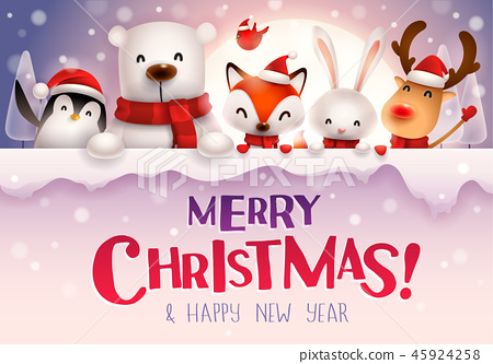 Christmas animals character with big signboard. 45924258