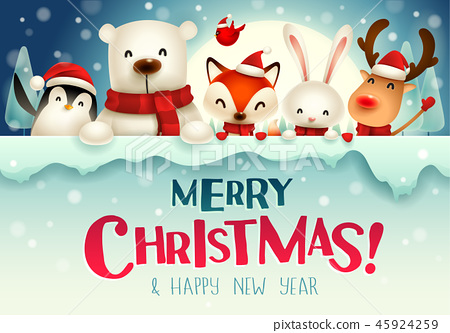 Christmas animals character with big signboard. 45924259