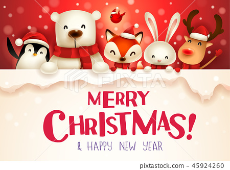 Christmas animals character with big signboard. 45924260