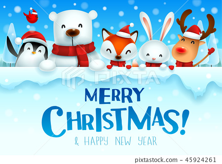 Christmas animals character with big signboard. 45924261