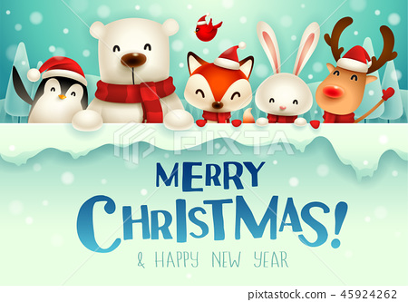 Christmas animals character with big signboard. 45924262