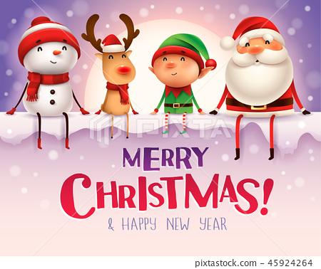 Happy Christmas companions sit on big signboard. 45924264