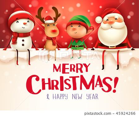 Happy Christmas companions sit on big signboard. 45924266