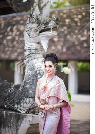 Beautiful Thai girl in Thai traditional costume. 45925961