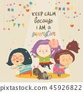 Cute cartoon girls superstar with funny pets. Best friends 45926822