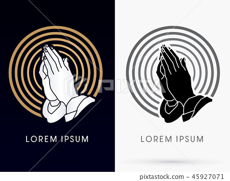 Prayer hand graphic vector. 45927071