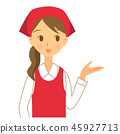给信息的围裙的女性干事 45927713