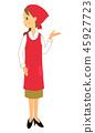 围裙的女性职员指导斜向一边 45927723