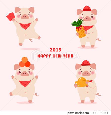 cartoon pig with 2019 45927861