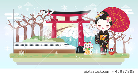 cartoon geisha with winter japan 45927888