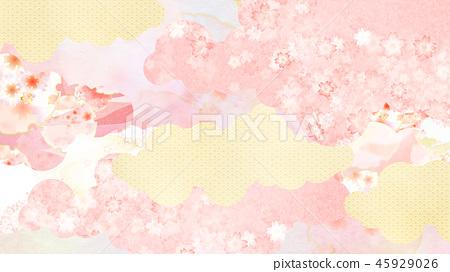 日本 - 日本風格 - 日本模式 - 背景 -  Washi  - 春天 - 櫻桃樹 - 粉紅色 45929026