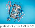 Pink and blue Christmas balls 45932221