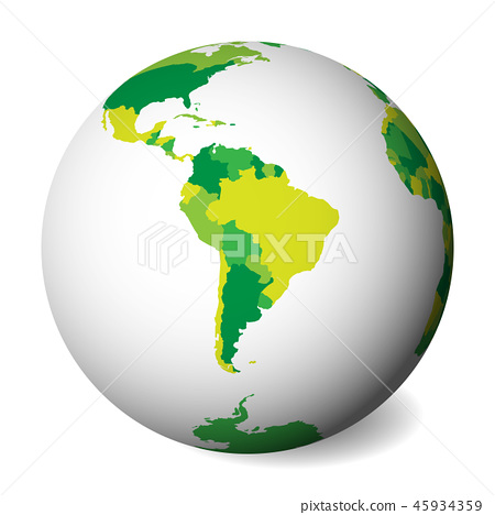 Map Of America 3d Vector.Blank Political Map Of South America 3d Earth Globe With Green Map