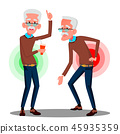 Bent Over Old Man From Back Ache, Sciatica Vector. Isolated Cartoon Illustration 45935359
