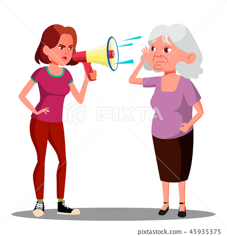 Girl Screaming To Hearing Impaired Elderly Woman Vector. Isolated Cartoon Illustration 45935375