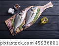 Raw dorado fish and ingridient for cooking 45936801