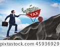 Businessman pushing tax wheelbarrow uphill 45936929