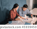 Two promising businessmen having informal meeting in cafeteria 45939450