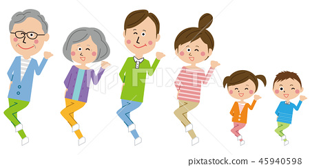 팝 3 세대 가족 슛 댄스 전신 45940598