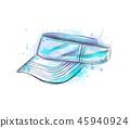 Tennis cap, visor cap from a splash of watercolor 45940924