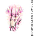 Legs of ballerina in ballet shoes from a splash of watercolor 45940938