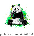 Panda sitting and eating bamboo from a splash of watercolor 45941050