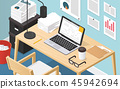 Isometric Office Workplace Illustration 45942694