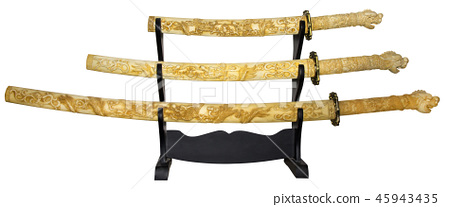 Set of three replica japanese samurai swords 45943435