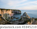 Panoramic view of Etretat cliffs at sunset, France 45945210