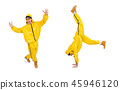 Modern dancer in yellow dress isolated on white 45946120