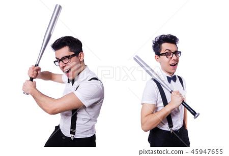Funny man with baseball bat 45947655