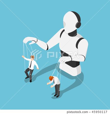 Ai robot controlling businessman like a puppet 45950117
