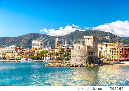 Ancient old castle on the sea at daylight. Rapallo, Italy 45952644