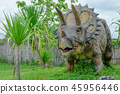 triceratops dinosaur forest model on background. 45956446