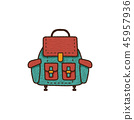 Flat backpack icon. Unique retro camping design. Vintage hand drawn travel equipment badge, patch 45957936