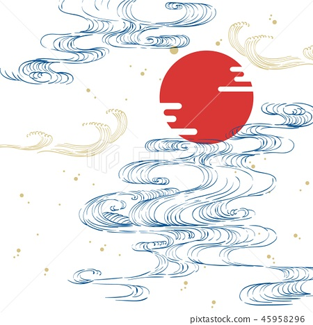Japanese wave template vector. Ocean hand drawn 45958296