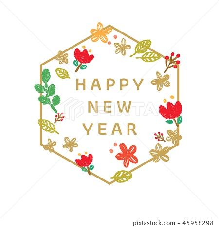Flower template card vector. Happy New Year  45958298