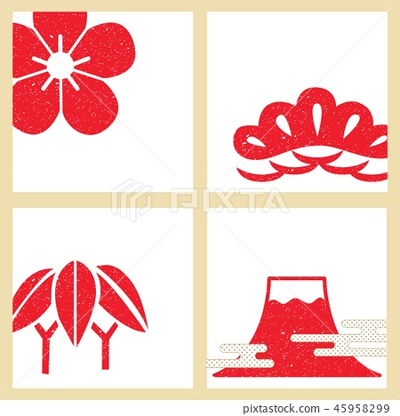Japanese template vector. Red symbols crest backgr 45958299